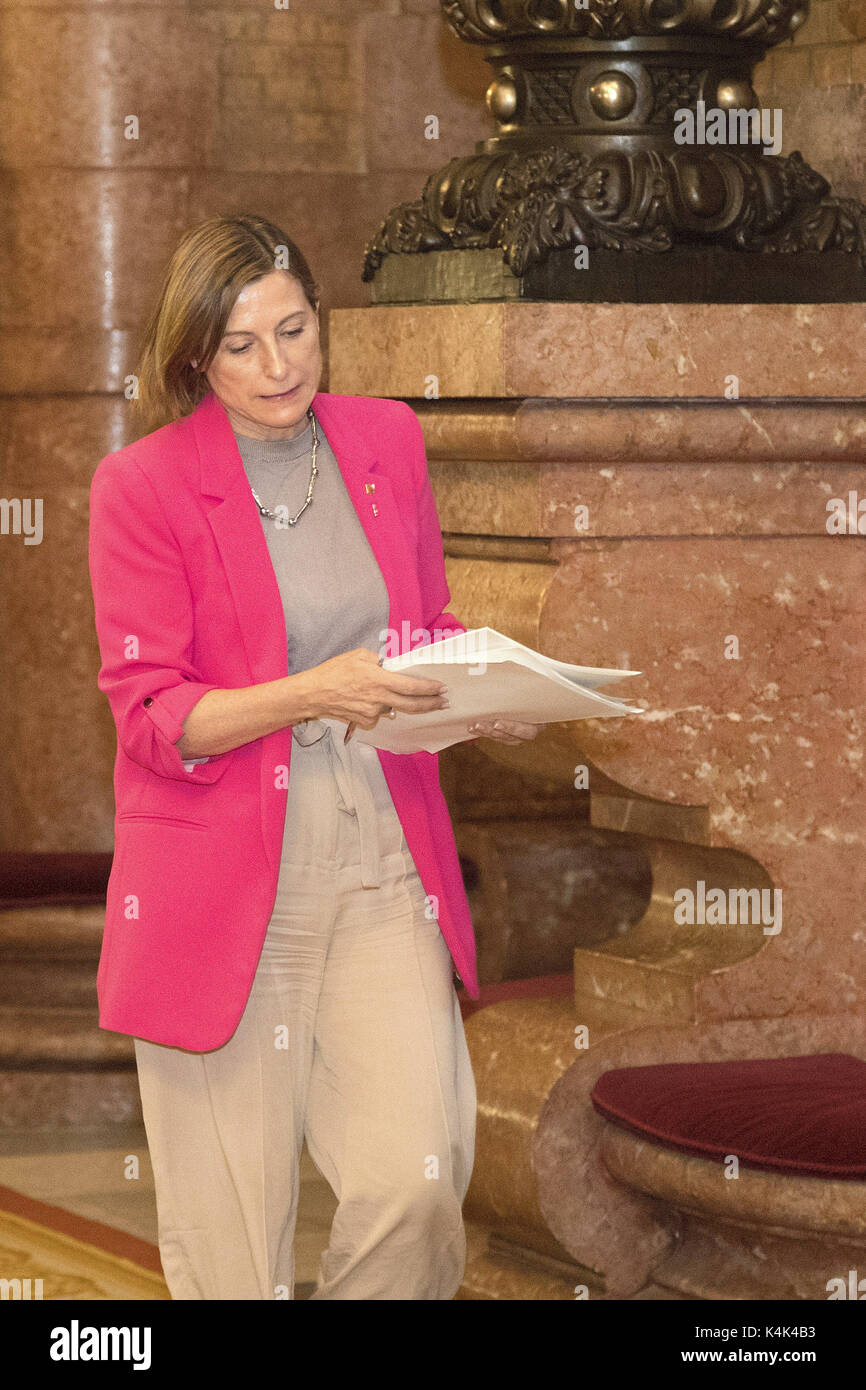 President of the Catalan Parliament Carme Forcadell leaves after multiple sessions in Barcelona, Catalonia, Spain, - Stock Image
