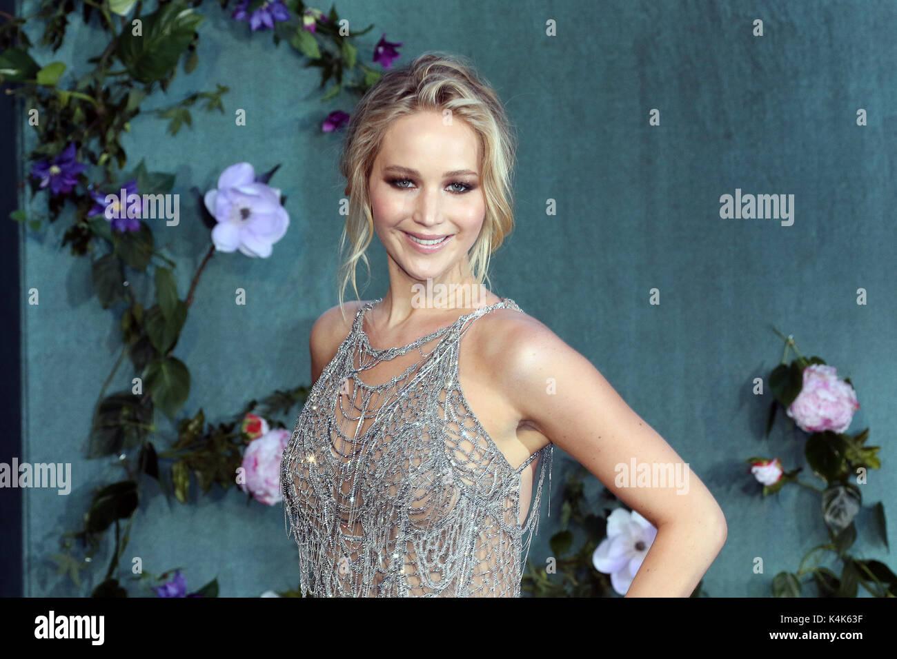 London, UK. 06th Sep, 2017. Jennifer Lawrence, Mother! - UK Film Premiere, Leicester Square, London UK, 06 September - Stock Image