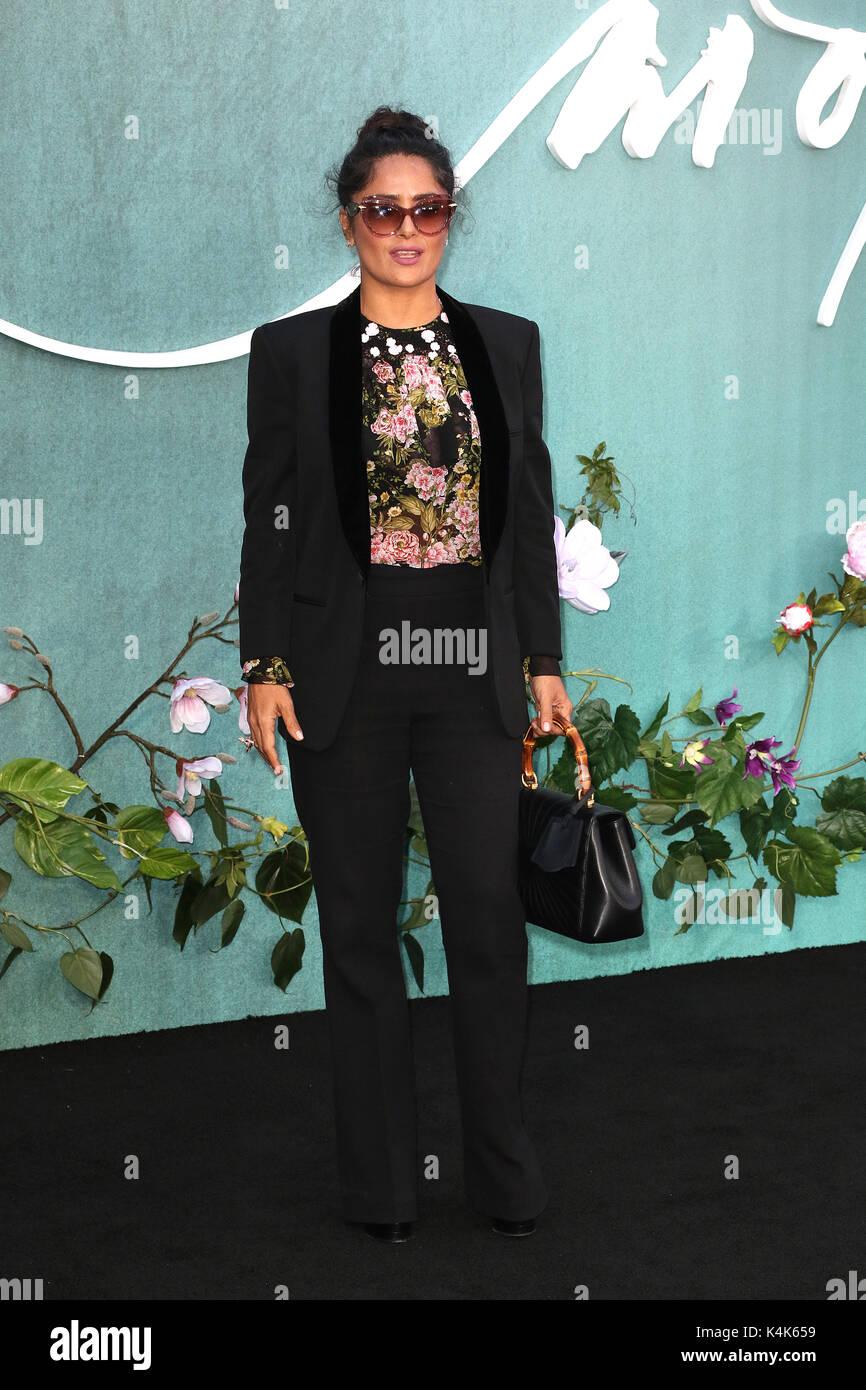 London, UK. 06th Sep, 2017. Salma Hayek, Mother! - UK Film Premiere, Leicester Square, London UK, 06 September 2017, - Stock Image