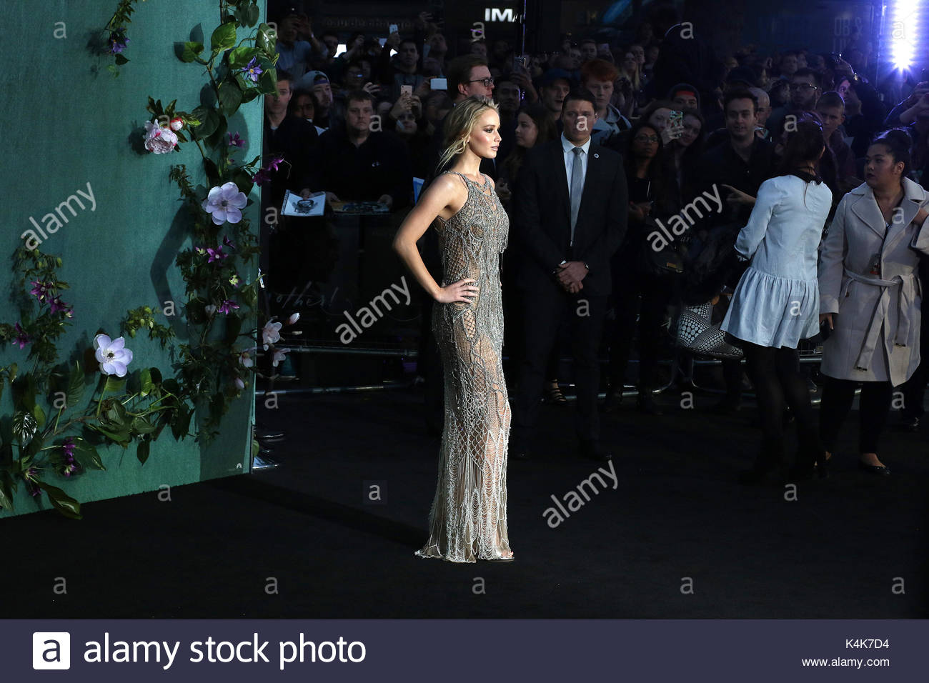 London, UK 6th Sep, 2017 Jennifer Lawrence, Mother! - UK Film Premiere, Leicester Square, London UK, 06 September - Stock Image