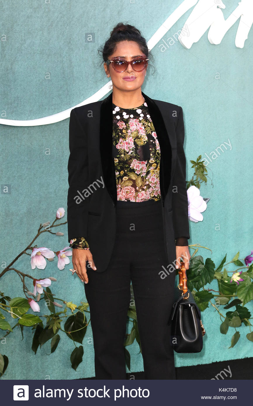 London, UK 6th Sep, 2017 Salma Hayek, Mother! - UK Film Premiere, Leicester Square, London UK, 06 September 2017, - Stock Image