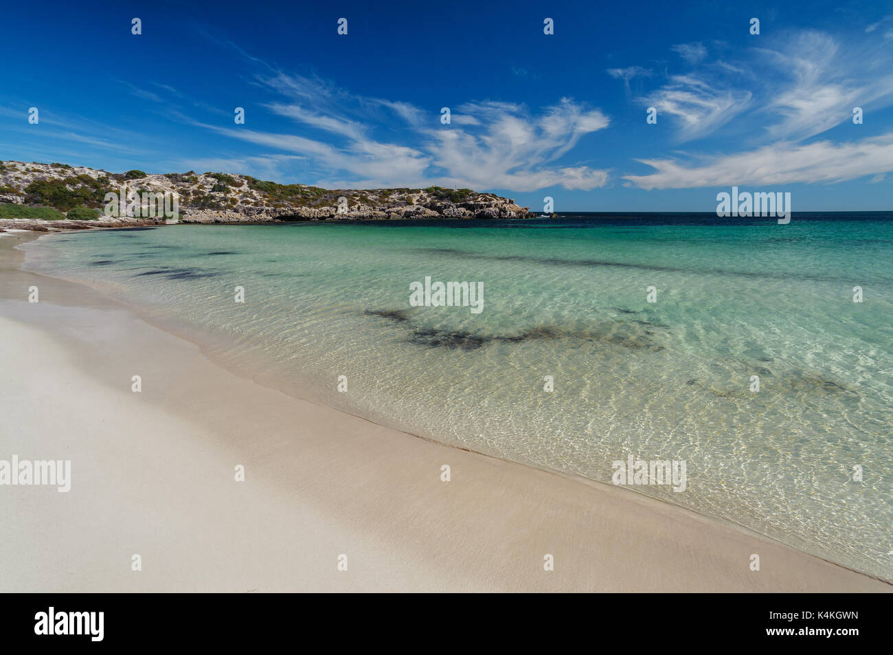 Turquoise water at Dynamite Bay. - Stock Image
