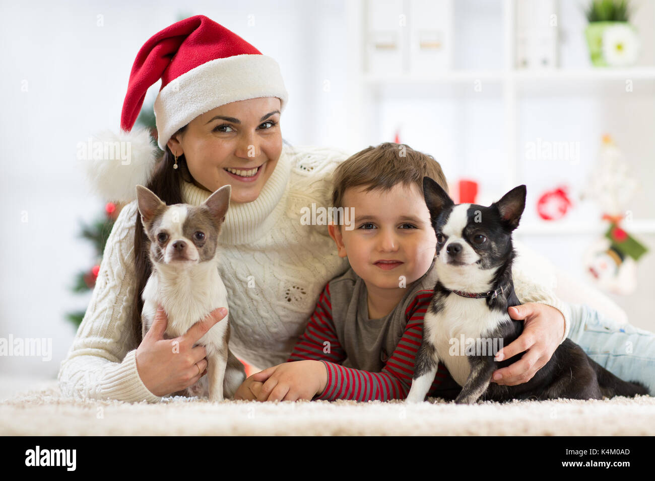 Happy family Christmas. Mother, son and dogs celebrating winter holidays at home. - Stock Image