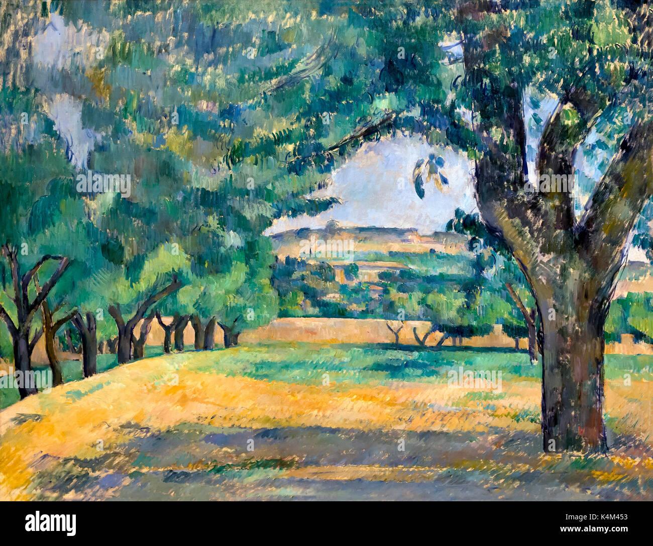 Neighbourhood of Jas de Bouffan, by Paul Cezanne, 1885-1887, Solomon R. Guggenheim Museum, Manhattan, New York City, - Stock Image