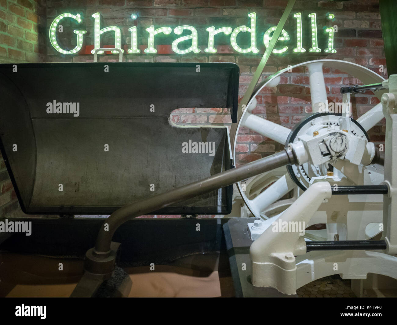 Chocolate manufacturing equipment at the Ghirardelli Original Chocolate Manufactory at Ghirardelli Square in San - Stock Image