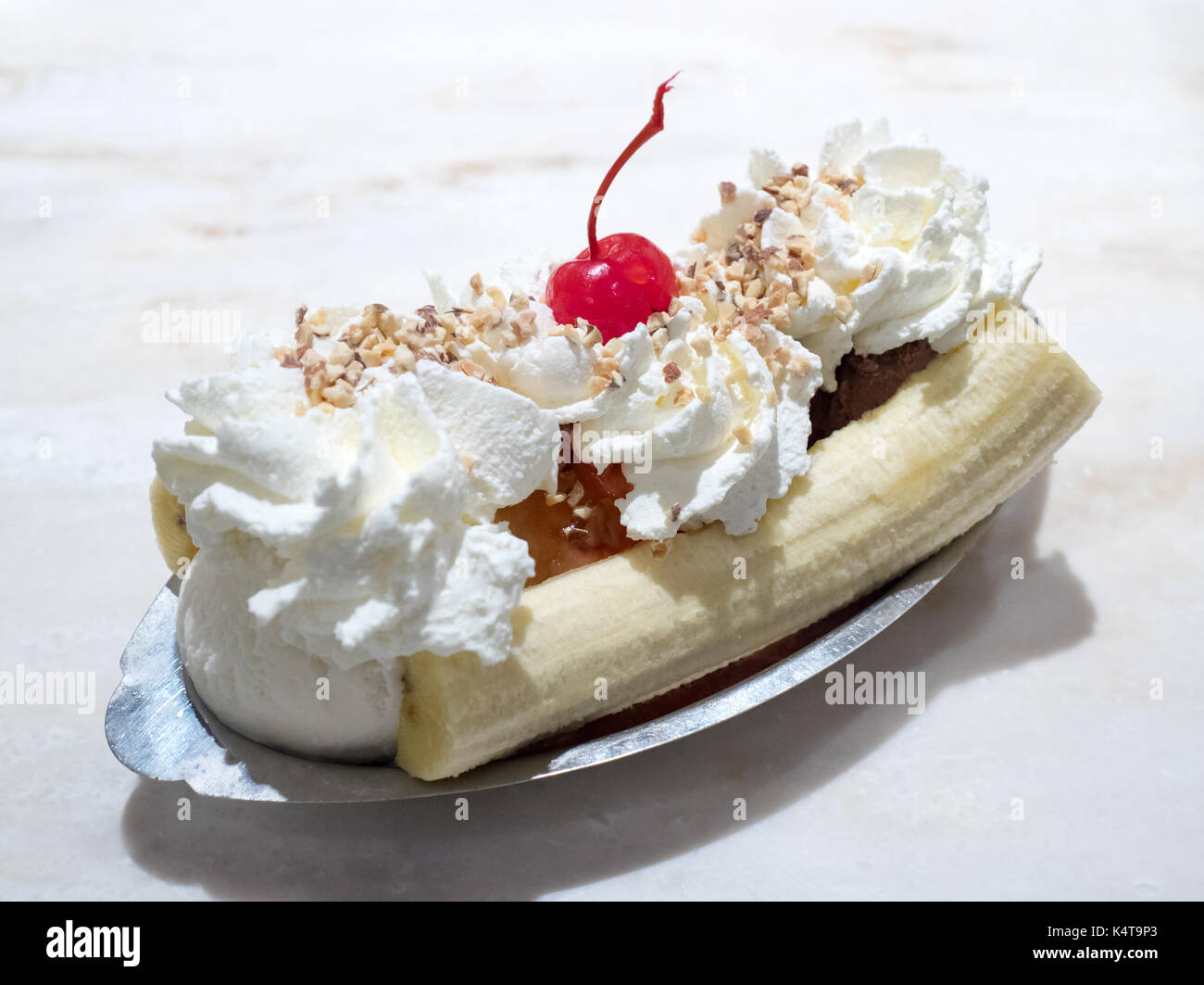A classic banana split from the Original Ghirardelli Ice Cream and Chocolate Shop at Ghirardelli Square in San Francisco, - Stock Image