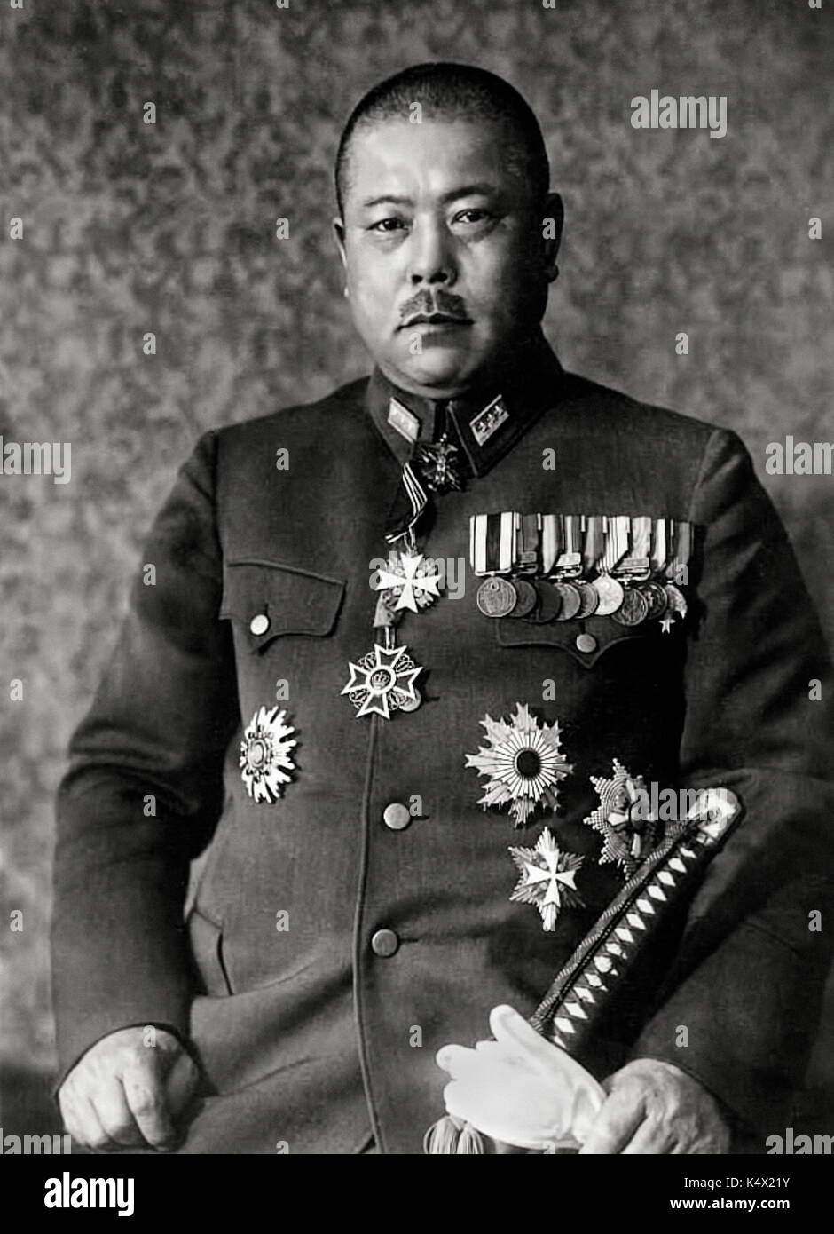 "General Tomoyuki Yamashita (1885-1946) highly decorated commander of the Japanese 25th Army nicknamed the ""Tiger - Stock Image"