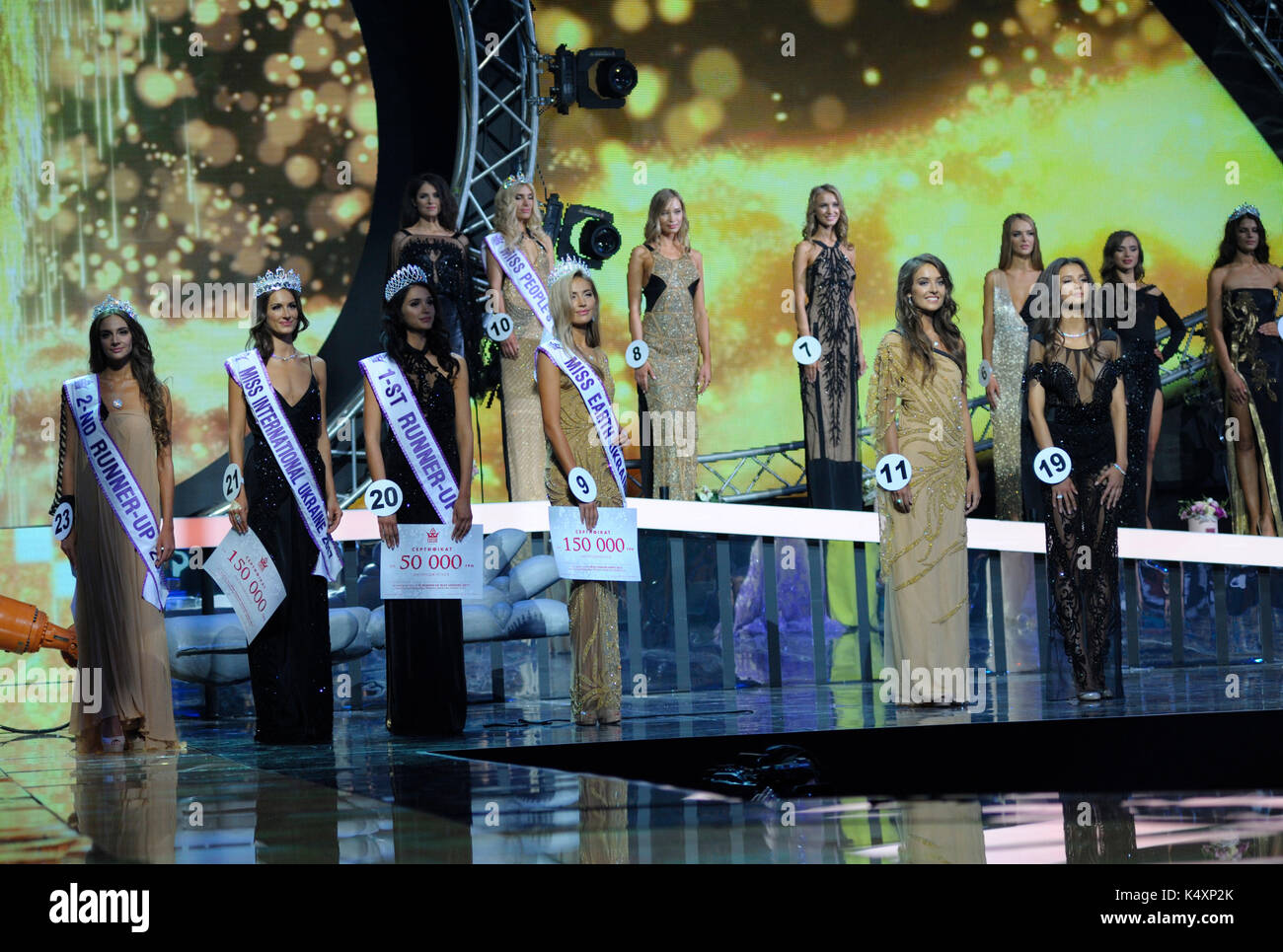 September 06,2017. Kiev, Ukraine. Miss Ukraine 2017, beauty pageant. Final contest took place at the National Palace - Stock Image