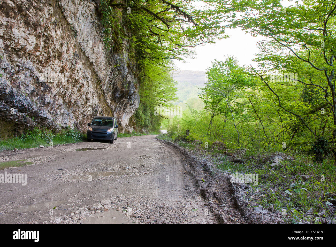 the car in the mountains of Abkhazia - Stock Image