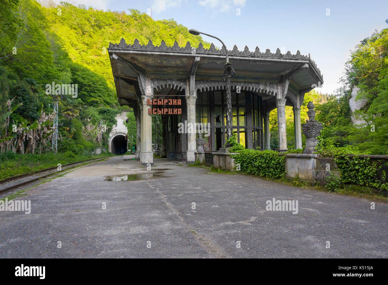 Abandoned railway station Psyrtskha, New Afon, Abkhazia - Stock Image