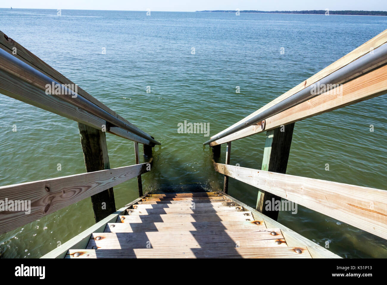 St. Saint Simons Island Georgia Neptune Park waterfront water access stairs - Stock Image