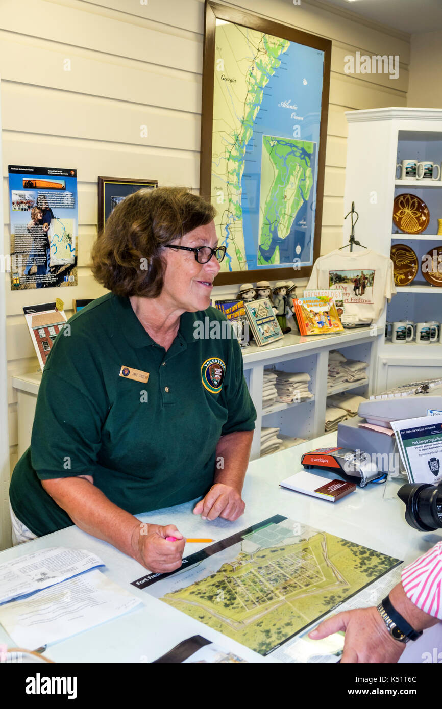 St. Saint Simons Island Georgia National Park Service Fort Frederica National Monument archaeological site Visitor - Stock Image