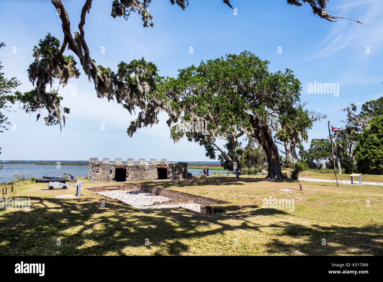 St. Saint Simons Island Georgia National Park Service Fort Frederica National Monument archaeological site ruins - Stock Image