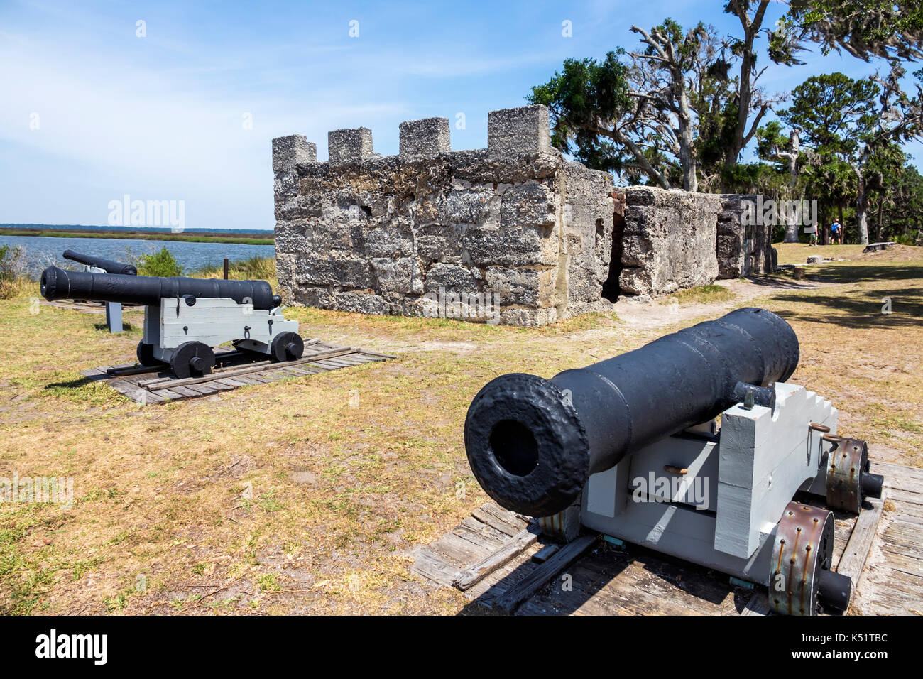 St. Saint Simons Island Georgia National Park Service Fort Frederica National Monument archaeological site canon - Stock Image