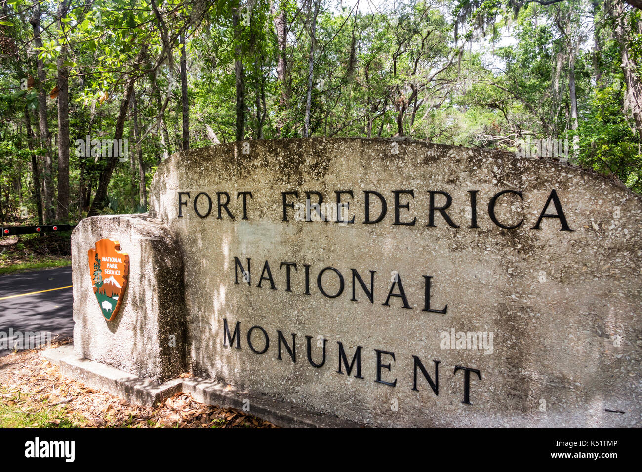 St. Saint Simons Island Georgia National Park Service Fort Frederica National Monument archaeological site sign - Stock Image