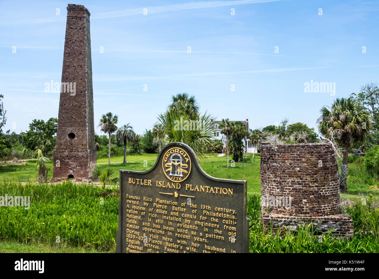 Darien Georgia Butler Island Plantation rice plantation Civil War historic site steam-operated rice mill marker - Stock Image