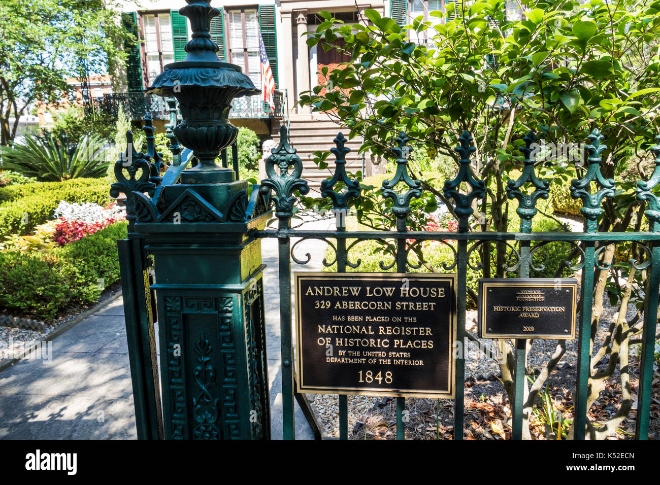 Savannah Georgia historic district Lafayette Square Andrew Low House museum exterior garden gate - Stock Image