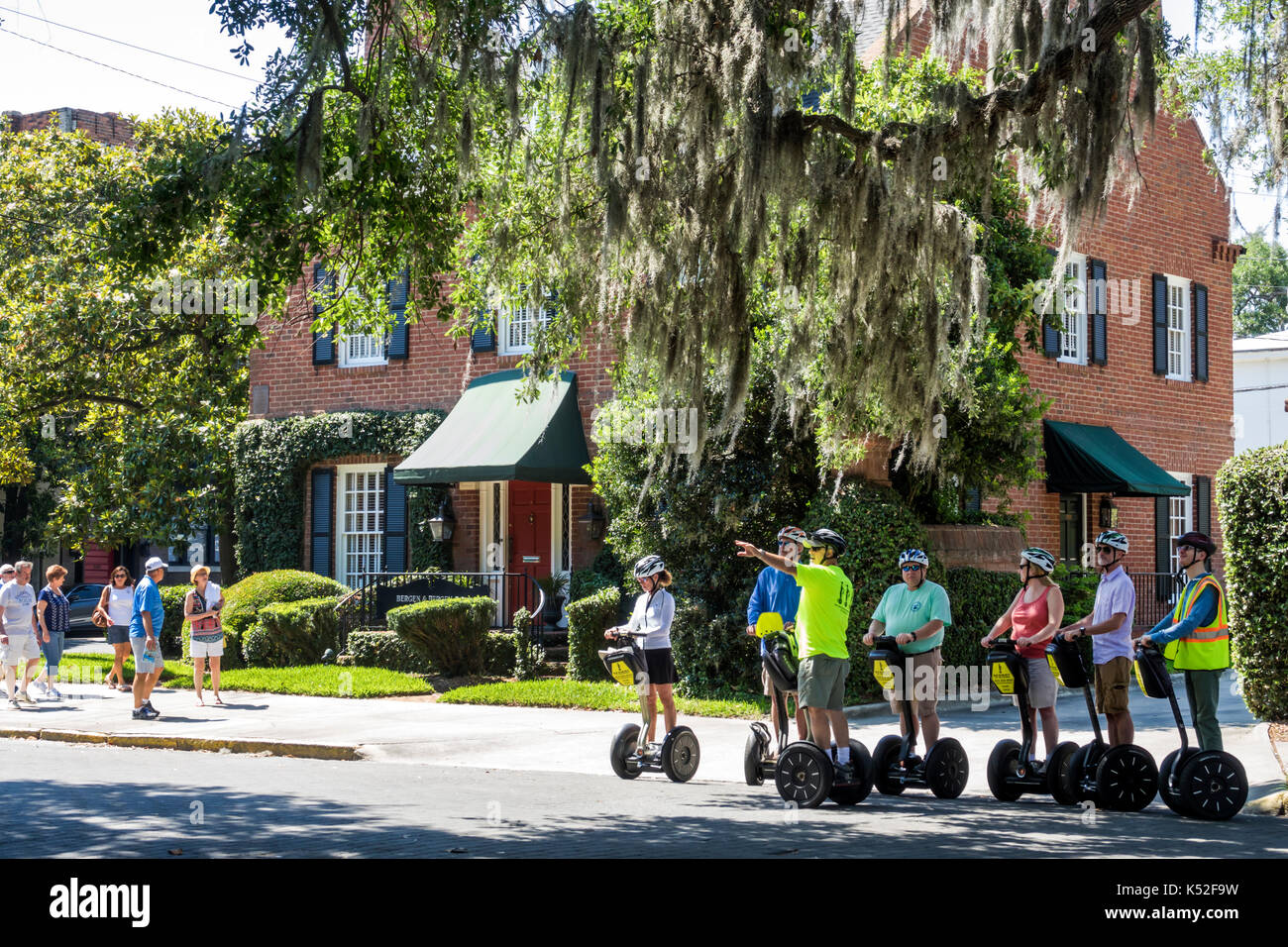 Savannah Georgia historic district Lafayette Square Segway guided tour - Stock Image