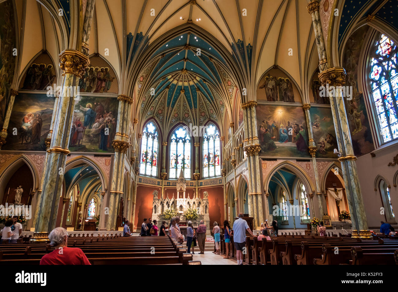 Savannah Georgia historic district Lafayette Square Cathedral of St. John the Baptist interior altar Gothic arch - Stock Image