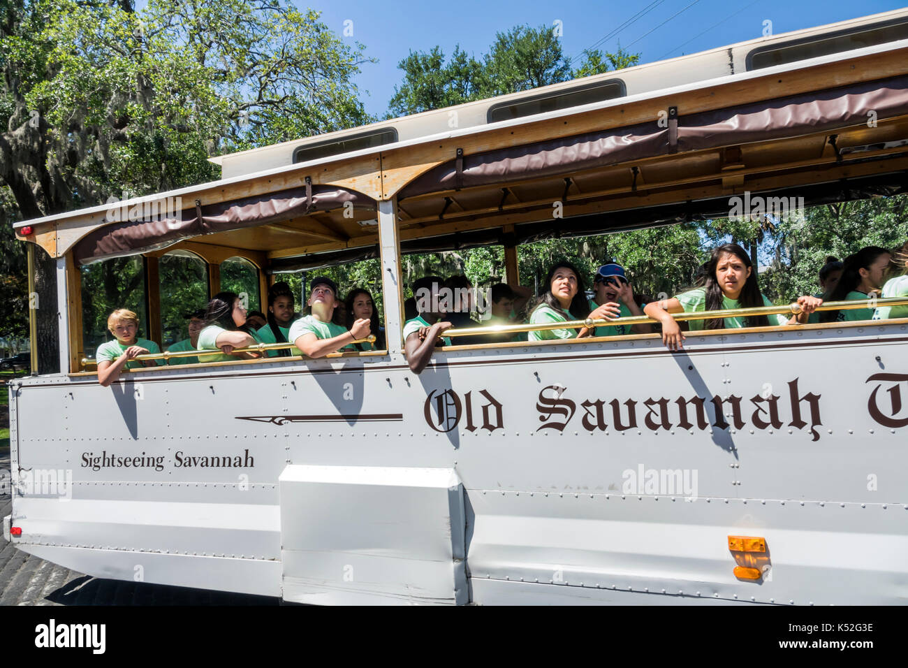 Savannah Georgia historic district Lafayette Square sightseeing trolley - Stock Image