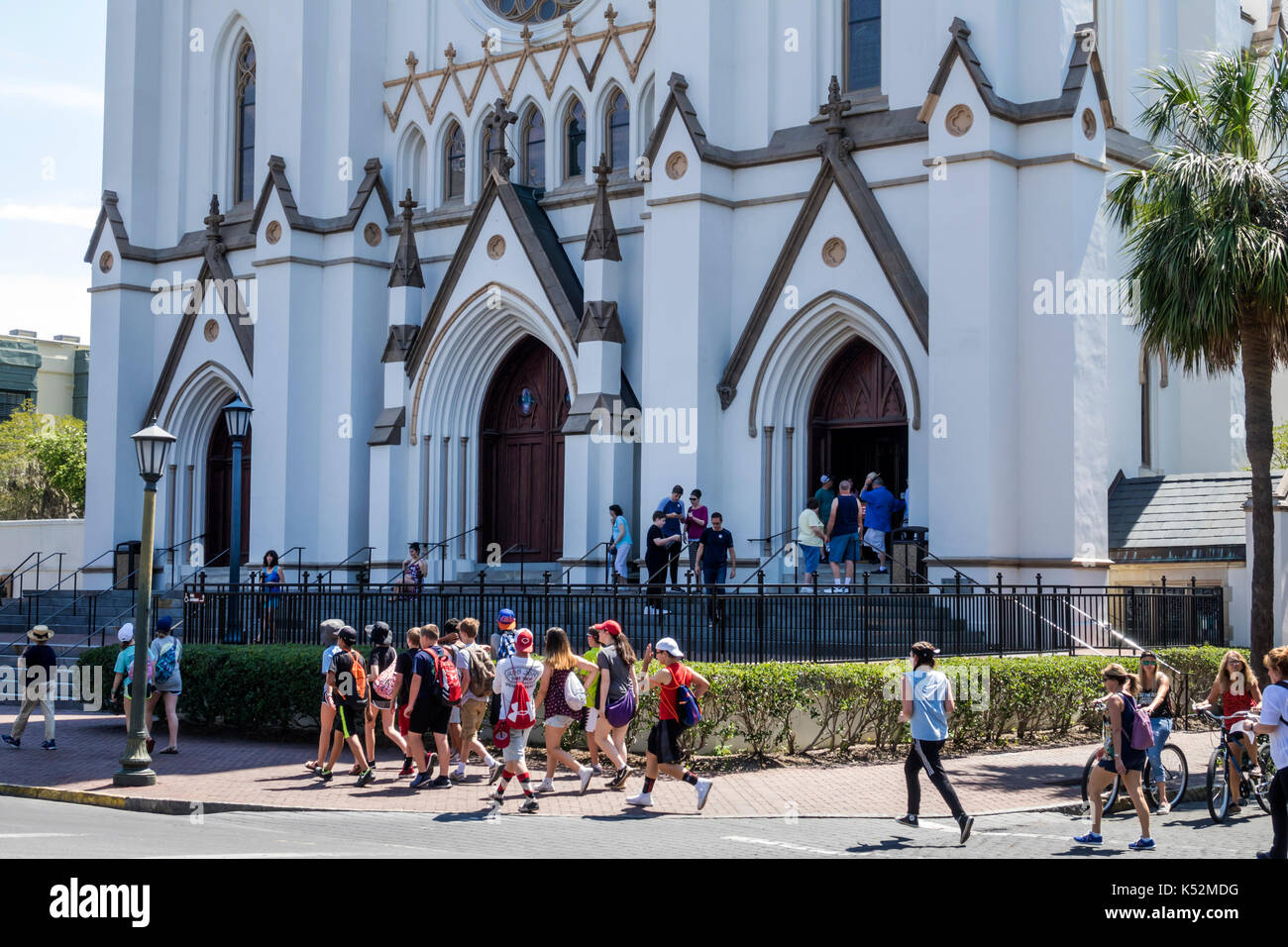Savannah Georgia historic district Lafayette Square Cathedral of St. John the Baptist - Stock Image