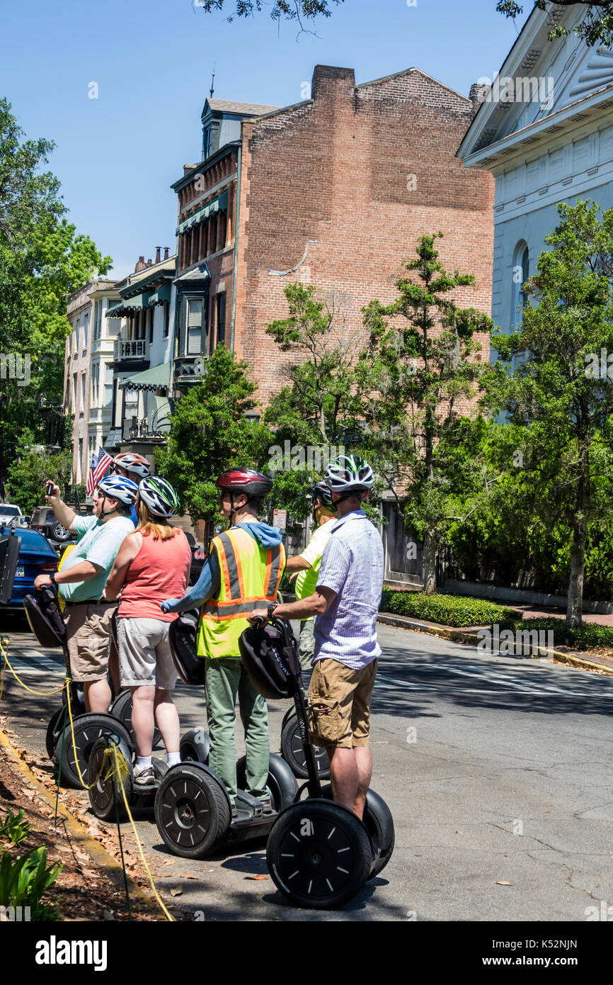 Savannah Georgia historic district Chippewa Square Segway guided tour - Stock Image