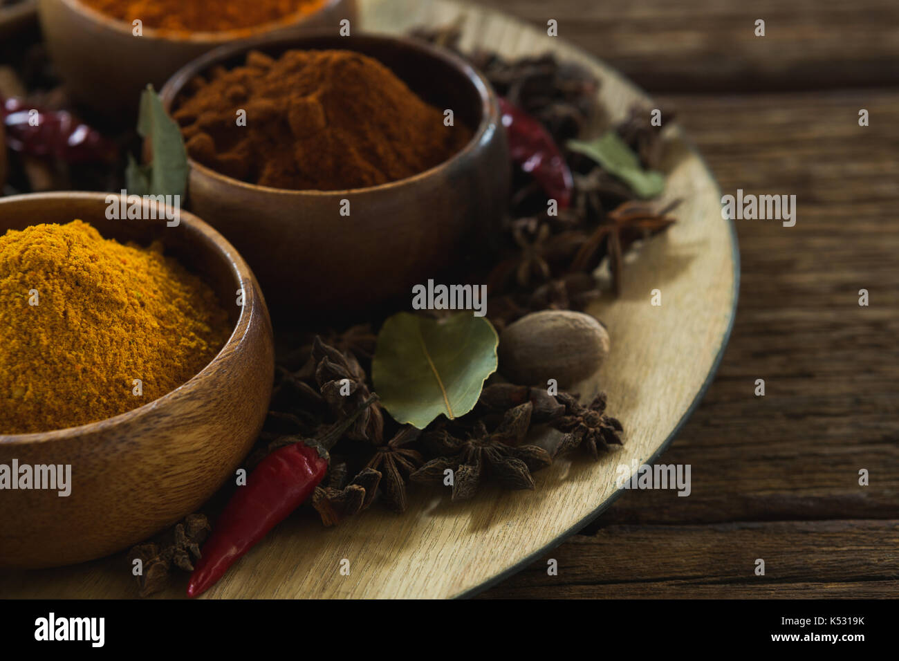 Close-up of various type of spices in bowl - Stock Image