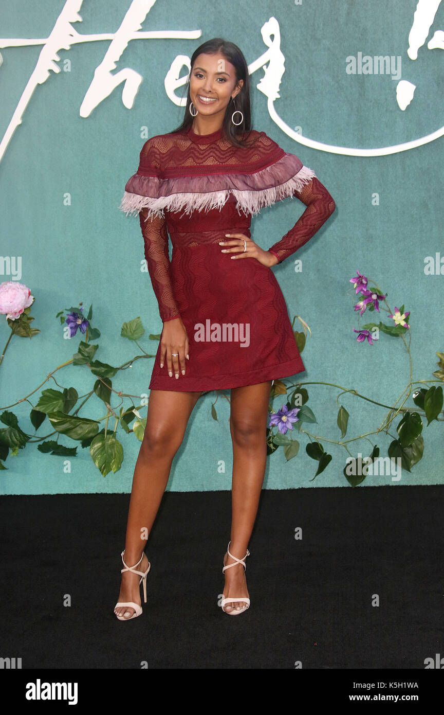 LONDON - SEP 06, 2017: Maya Jama attends the Mother UK film premiere at Odeon Leicester Square in London - Stock Image