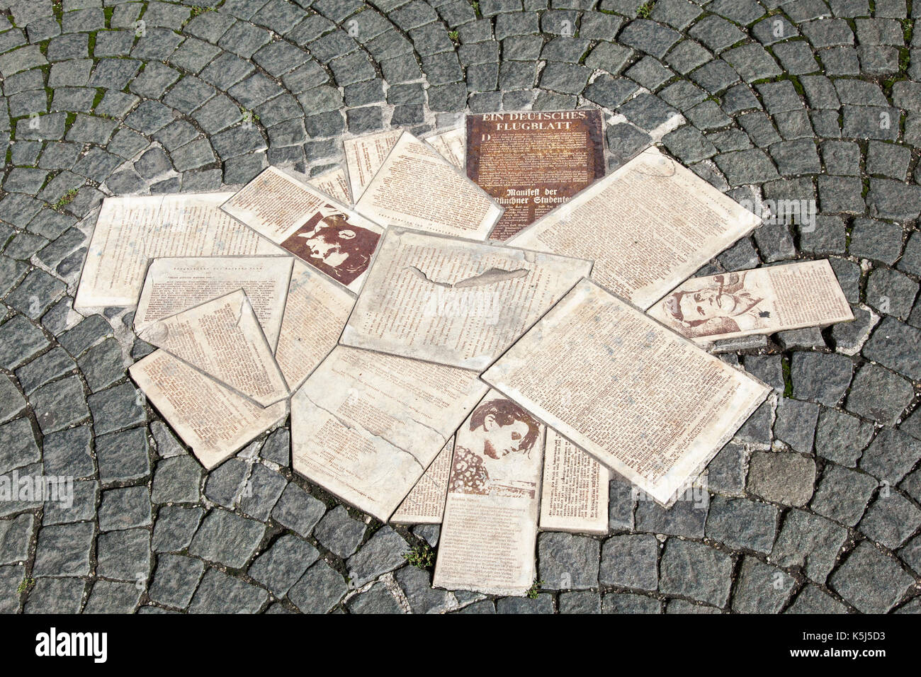 White Rose Pavement Memorial, Munich - Stock Image