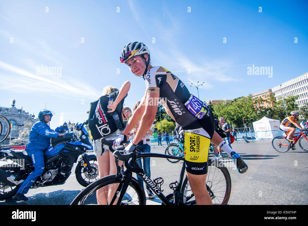 Madrid, Spain. 10th Sep, 2017. A cyclist of Nathalie Bex (Sport Vlaanderen Guill D'Or) during the women cycling - Stock Image