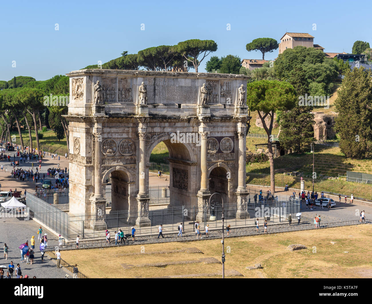 Arch of Constantine viewd from Colosseum, Rome, Italy - Stock Image
