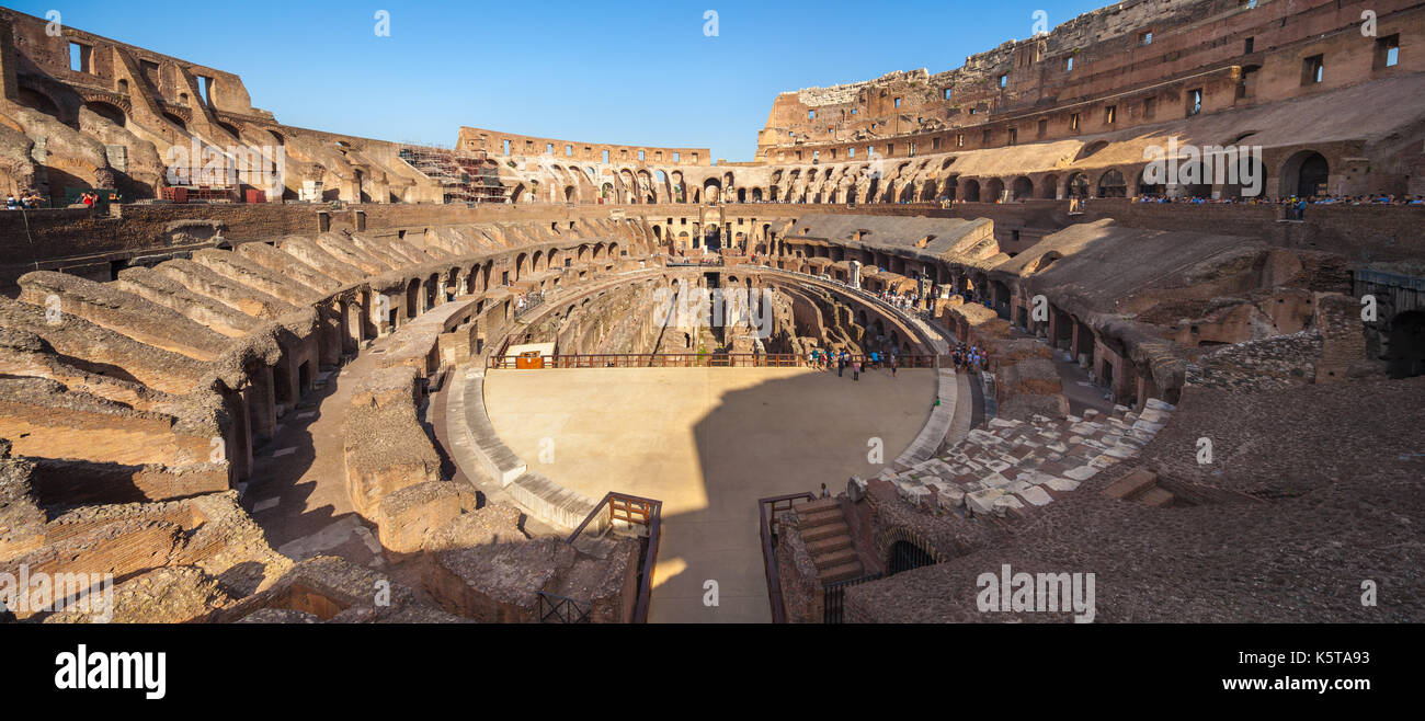 Panoramic view of Arena, Colosseum, Rome, Italy - Stock Image