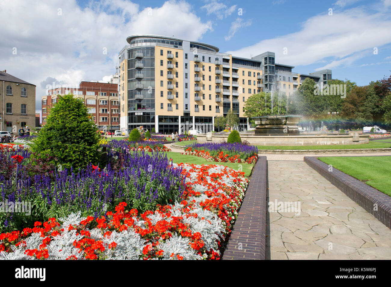 The BBC Building & Fountains of Queens Gardens in Kingston Upon Hull, UK City Of Culture 2017 - Stock Image