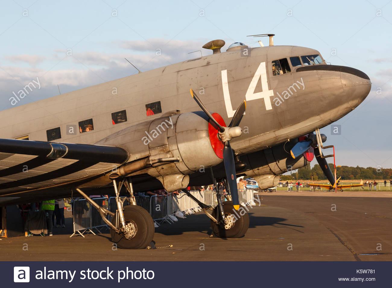 Douglas C-47 Skytrain at the Great Yorkshire Air Show Leeds East Airport ( Former RAF Church Fenton ) Church Fenton - Stock Image