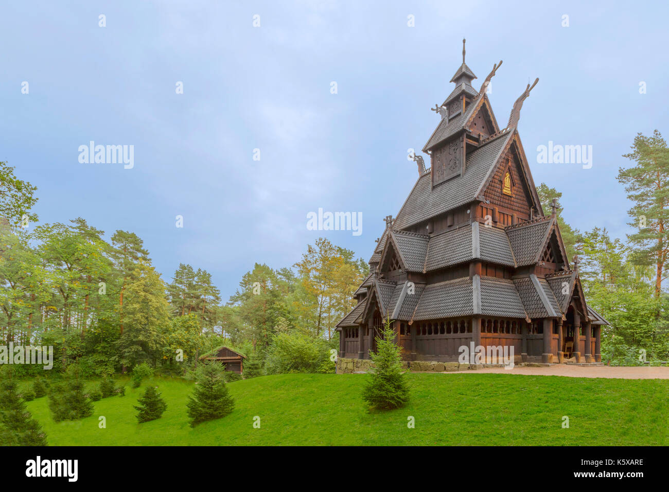 The ancient Stave Church ( Stavkirke ) from Gol in the NORSK FOLKEMUSEUM-  an open air Museum of the Norwegian Cultural - Stock Image