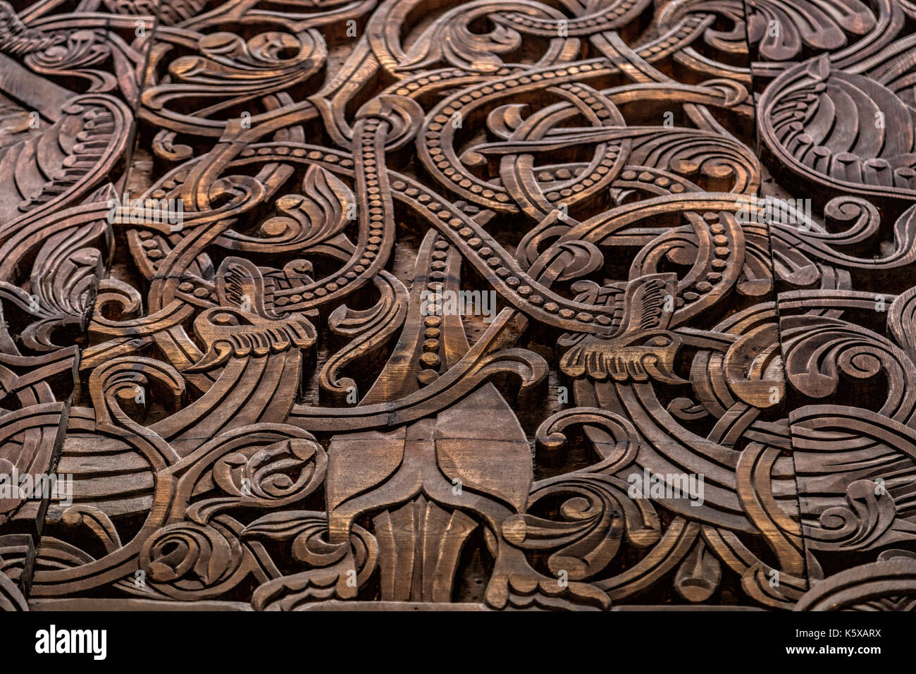 Close-up of woodcarvings of the Stave church portal in the NORSK FOLKEMUSEUM-  an open air Museum of Norwegian Cultural - Stock Image