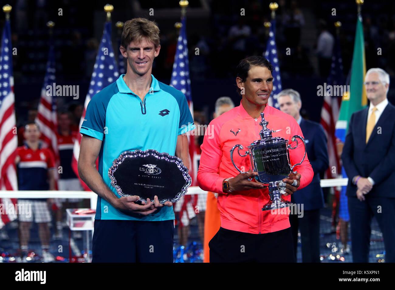 New York, United States. 10th Sep, 2017. US Open Tennis: New York, 10 September, 2017 - Rafael Nadal of Spain holds - Stock Image