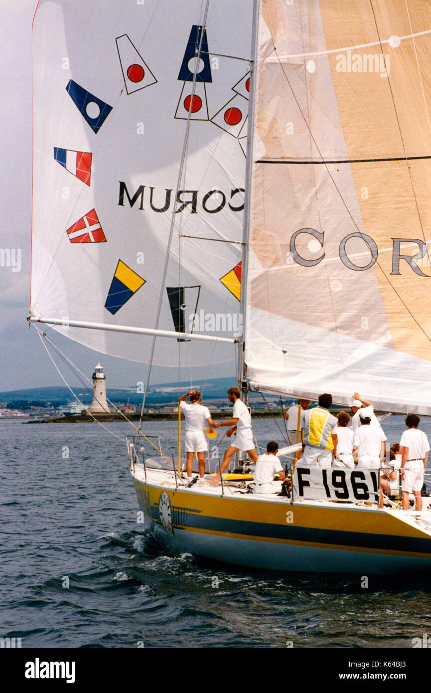 AJAXNETPHOTO. 14TH AUGUST, 1991. PLYMOUTH, ENGLAND. - FASTNET RACE END - ADMIRAL'S CUP 1991 - FRENCH TEAM YACHT - Stock Image