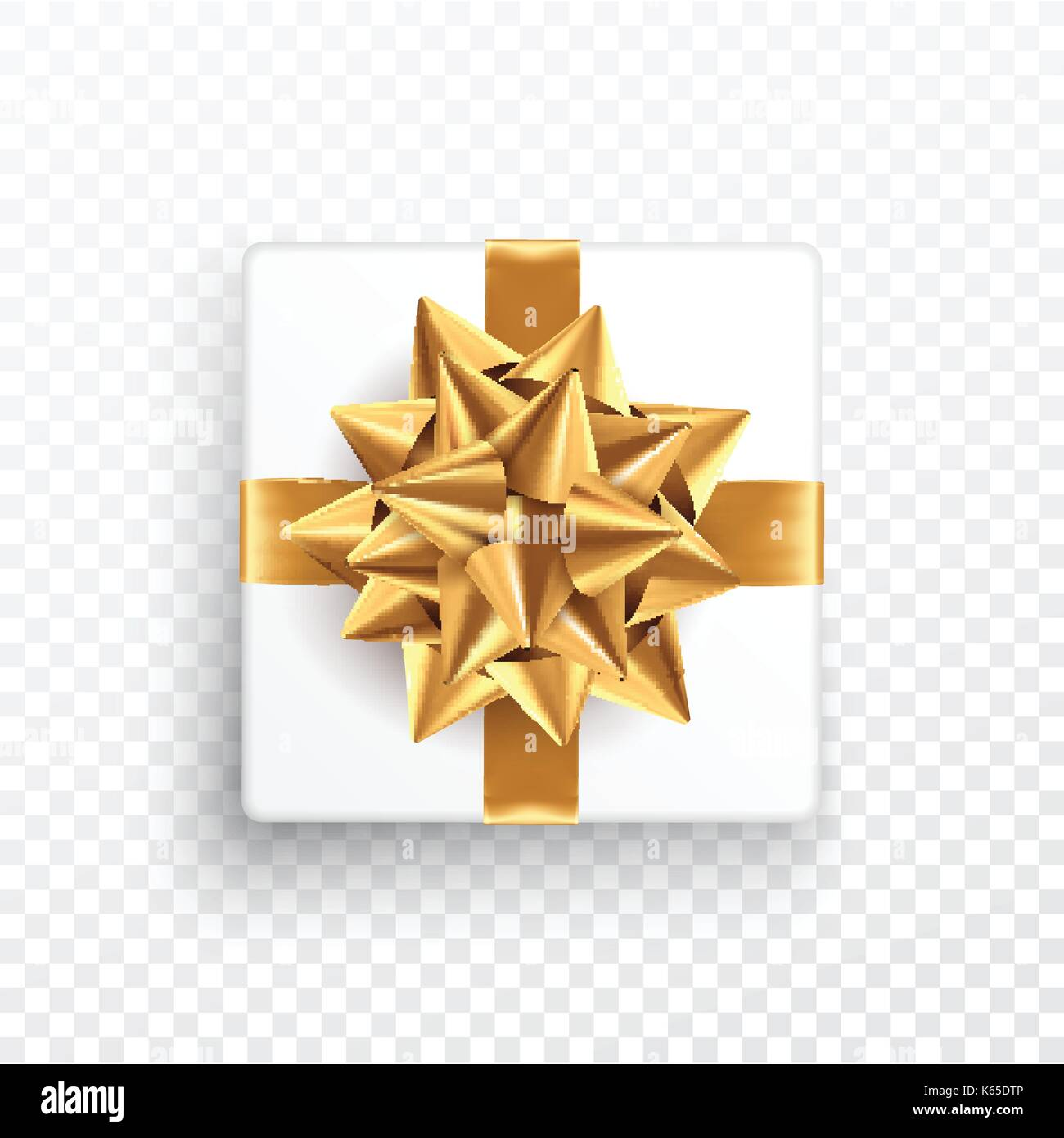 gold gift bow on a transparent background template for postcard