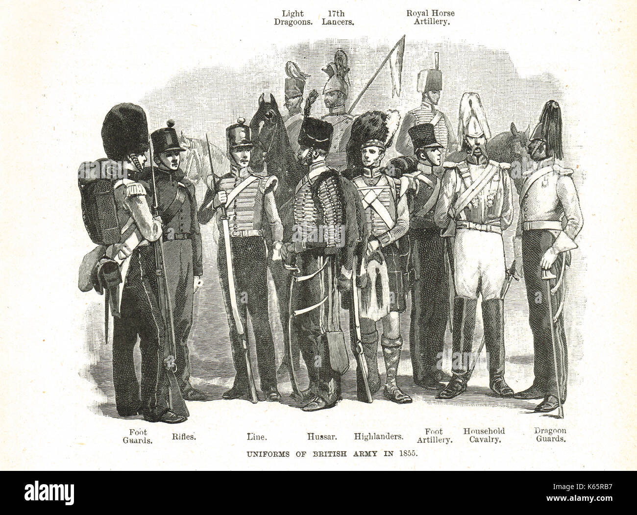 British Army uniforms of 1855 - Stock Image