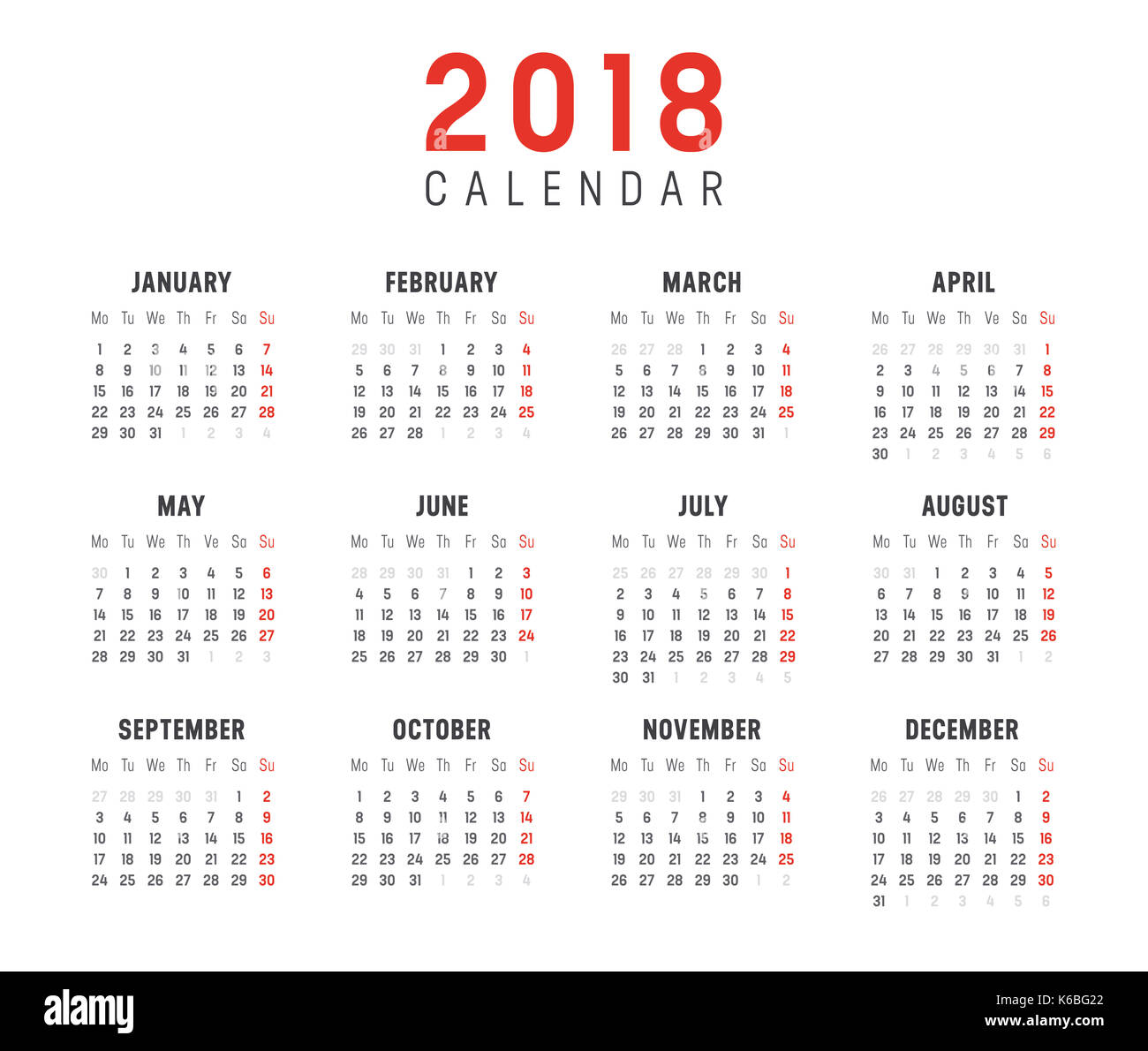 Minimalist Calendar Template : Stock photos images alamy