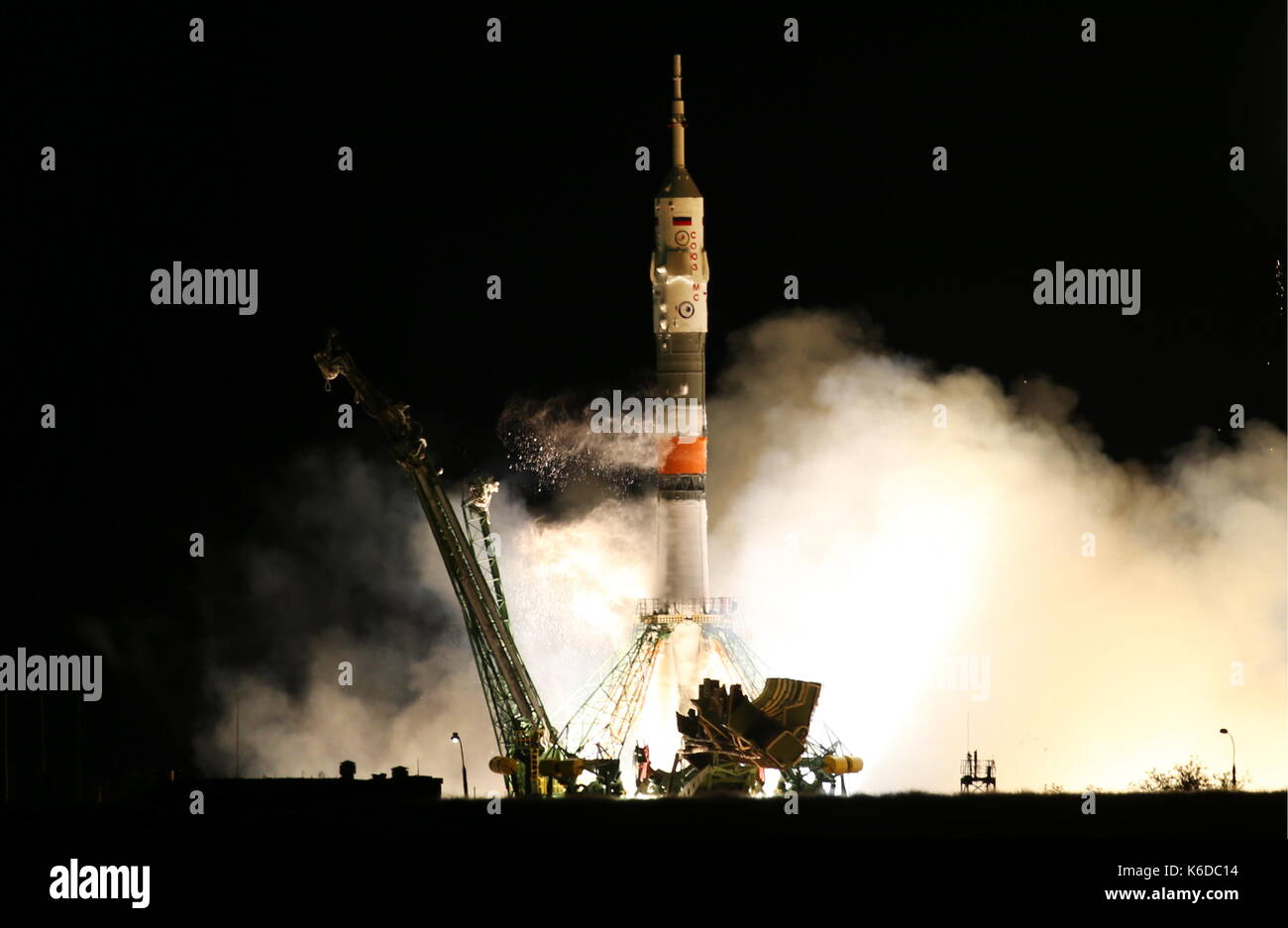 KAZAKHSTAN - SEPTEMBER 13, 2017: A Soyuz-FG rocket booster carrying the Soyuz MS-06 spacecraft with the ISS Expedition - Stock Image