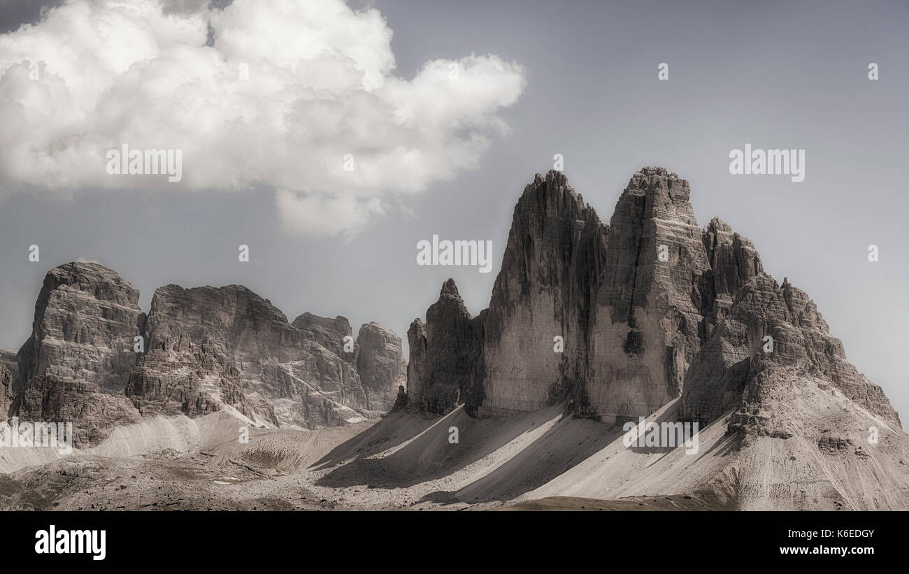 The famous Three Peaks of Lavaredo seen from the summit of Mount Specie in summer august afternoon, Dolomites - - Stock Image