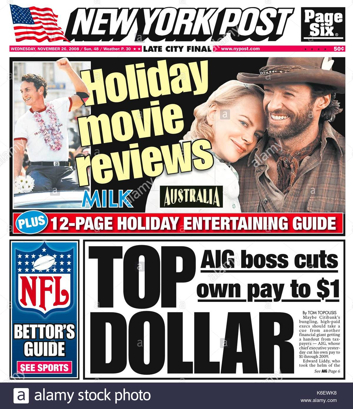 New York Post. The New York Post: Wednesday 26th November 2008. Cover stories of AIG insurance execs taking massive - Stock Image