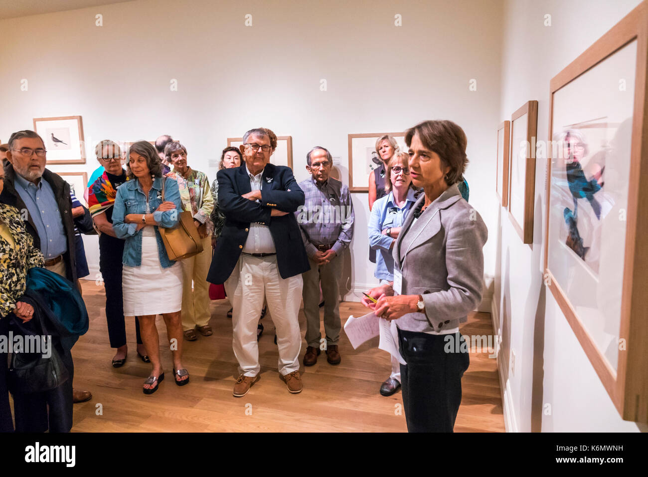 Charleston South Carolina SC Historic Downtown Gibbes Museum of Art exhibit docent guided tour guide speaking explaining - Stock Image