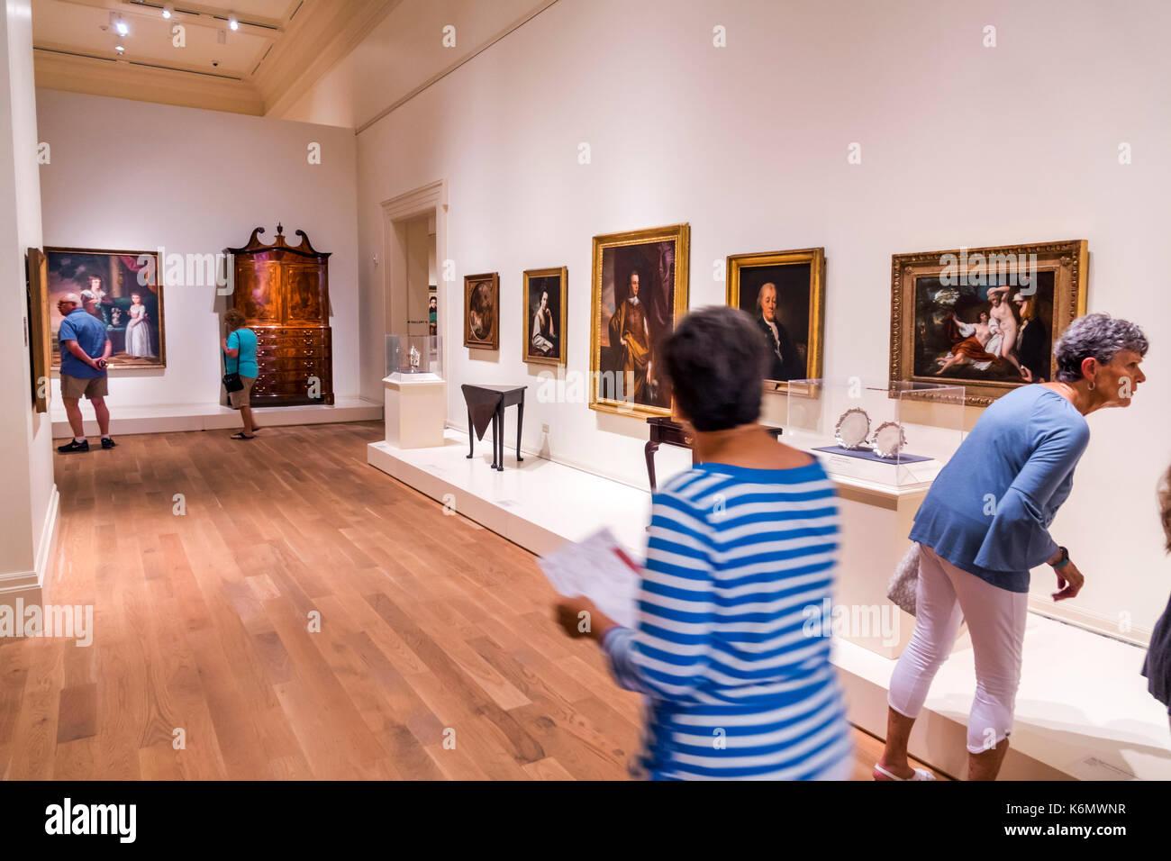 Charleston South Carolina SC Historic Downtown Gibbes Museum of Art exhibit interior gallery - Stock Image