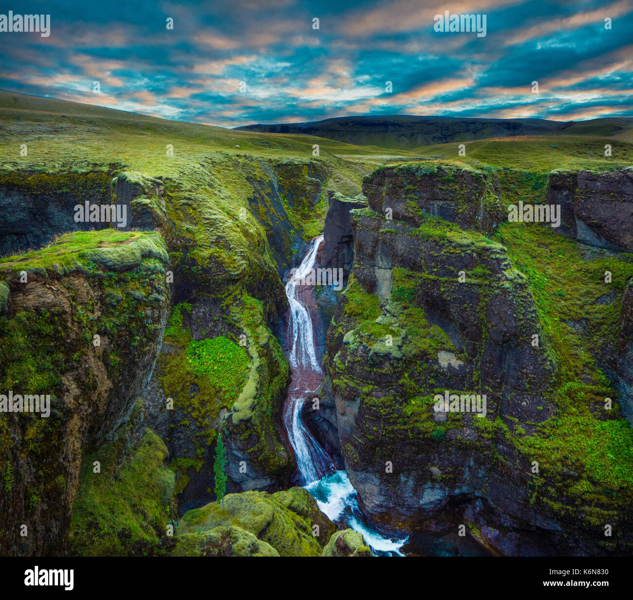 Fjaðrárgljúfur is a canyon in south east Iceland which is up to 100 m deep and about 2 kilometers - Stock Image