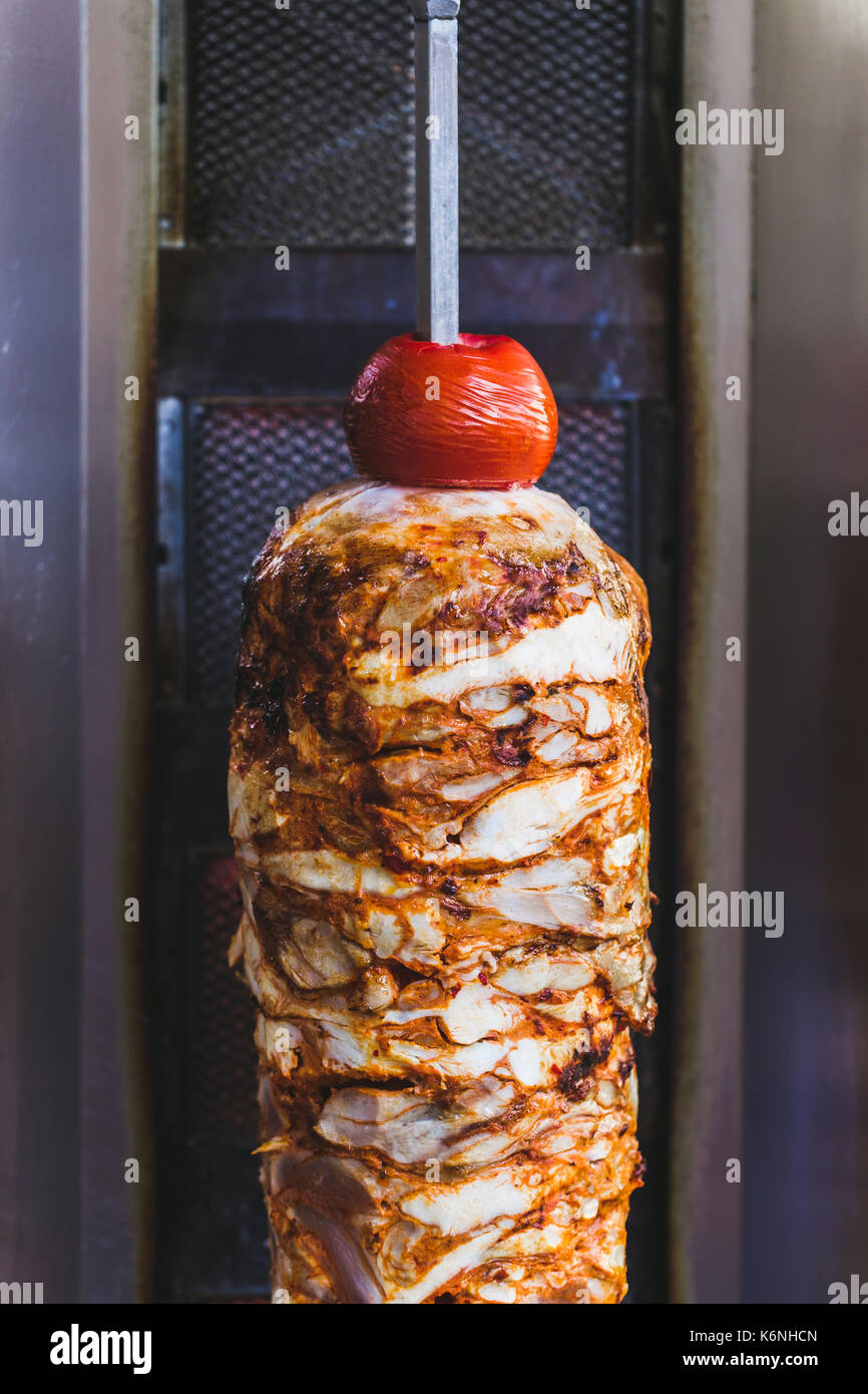 Bbq meat for turkish doner kebab in a restaurant in istanbul. Asian street food - Stock Image