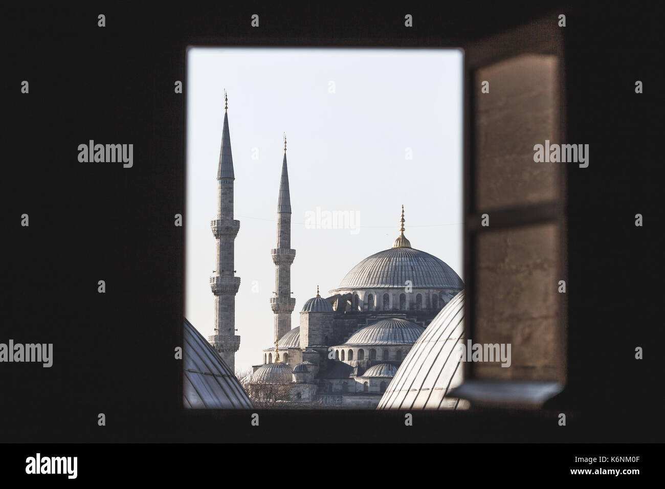 View of the Blue Mosque through the windows Hagia Sophia - Stock Image