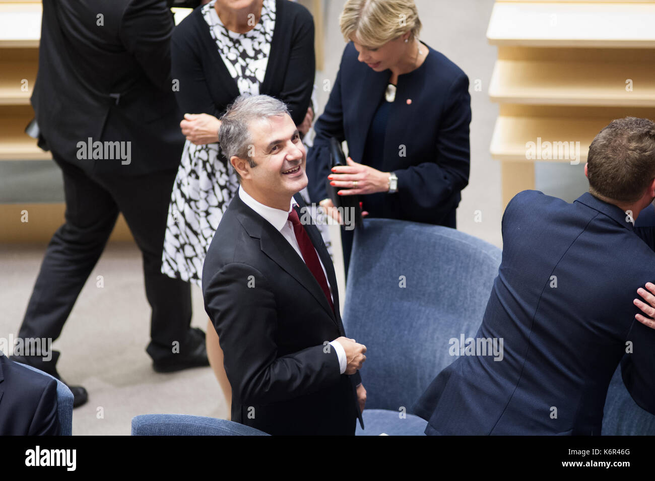 Stockholm, Sweden, 12th September, 2017. Ceremony in the Chamber at the opening of the Riksdag session.  Minister - Stock Image